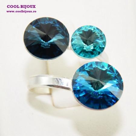 Inel cu 3 cristale SWAROVSKI ELEMENTS - Mix Bermuda Blue