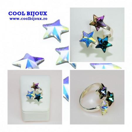 Inel cu 3 cristale SWAROVSKI ELEMENTS - Mix Star