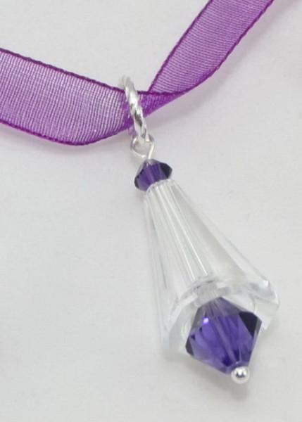 Artemis & Biconic Bead, Crystal & Purple Velvet, 14/23 mm