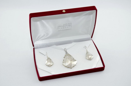 Baroque Pendant, Crystal Silver Shade, 28/50 mm