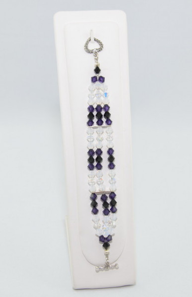 Bratara 3 randuri cu cristale SWAROVSKI ELEMENTS - Purple Velvet