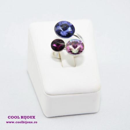 Inel cu 3 cristale SWAROVSKI ELEMENTS - Mix Violet