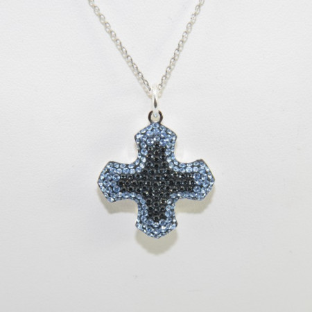 Pave Greek Cross Pendant - Crystal Silver Night/Light Sapphire