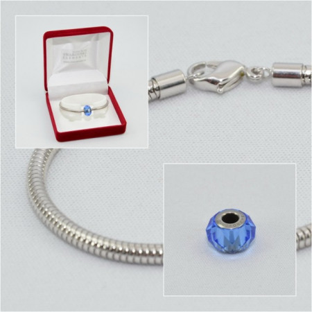 SWAROVSKI charm & bracelet - sapphire