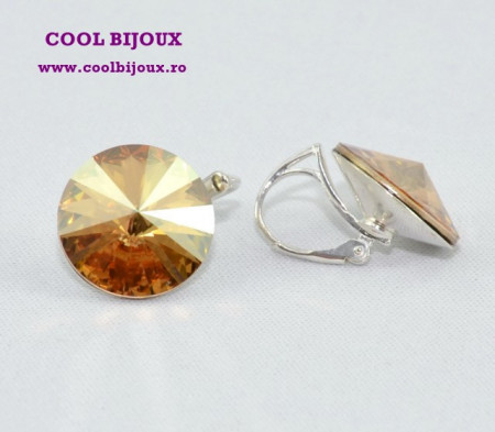 Cercei cu cristale SWAROVSKI ELEMENTS - Golden Shadow