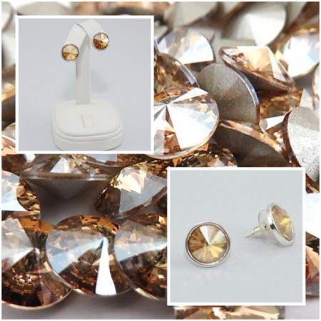 Cercei surub cu cristale SWAROVSKI ELEMENTS - Golden Shadow