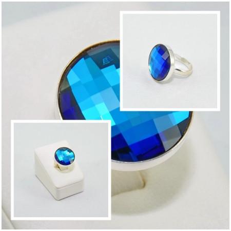 Inel cu cristal SWAROVSKI ELEMENTS - Bermuda Blue