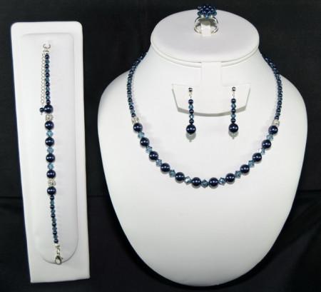 Set bijuterii cu cristale si perle SWAROVSKI ELEMENTS - night blue & montana