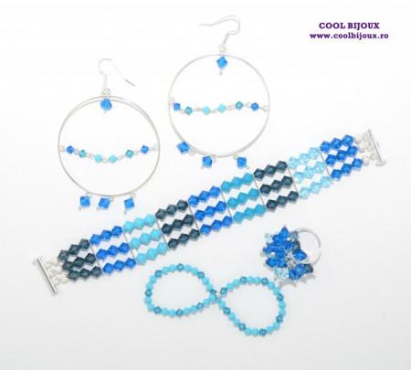 Set bijuterii cu cristale SWAROVSKI ELEMENTS - blue