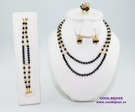 Set bijuterii cu cristale SWAROVSKI ELEMENTS - jet & golden