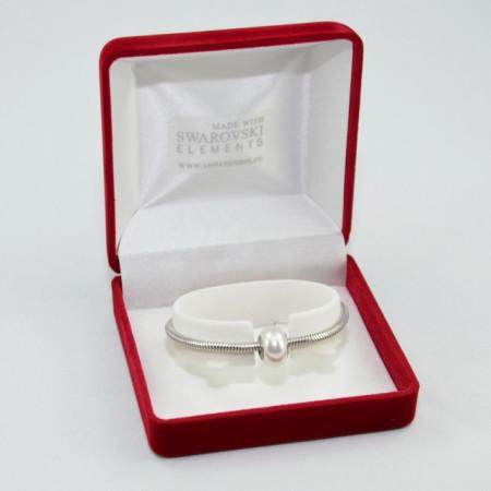 SWAROVSKI charm & bracelet - white pearl