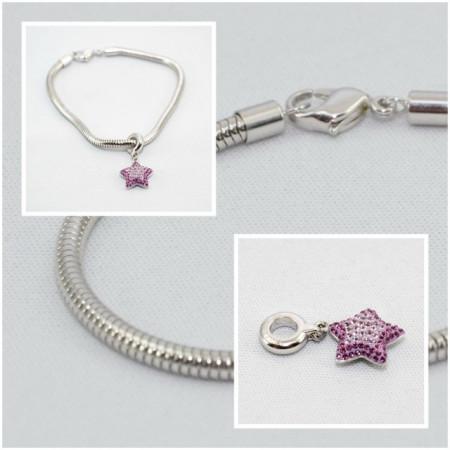 BeCharmed Pave Star Charm & Bracelet - Amethyst/Light Amethyst