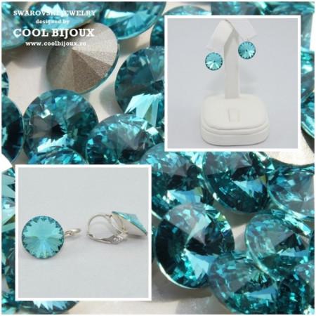 Cercei cu cristale SWAROVSKI ELEMENTS - Light Turquoise
