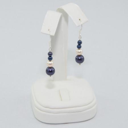 Cercei cu perle SWAROVSKI ELEMENTS - Night blue & creamrose