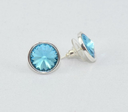 Cercei surub cu cristale SWAROVSKI ELEMENTS - Aquamarine