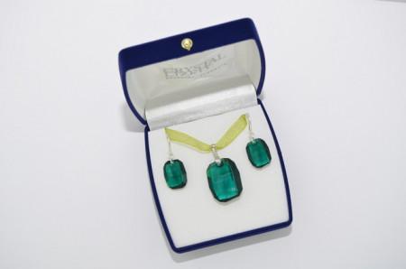 Graphic Pendant, Emerald, 19/28 mm