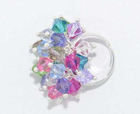 Inel cu cristale biconice - 6mm - Mix pastel