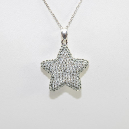 Pave Star Pendant - Crystal Silver Shade/Black Diamond