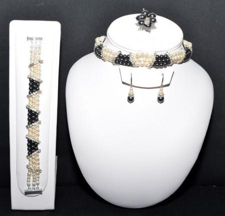 Set bijuterii cu perle SWAROVSKI ELEMENTS - black pearl & cream pearl