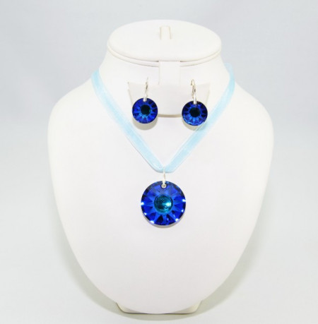 Sun Pendant, Crystal Bermuda Blue, 33/19 mm