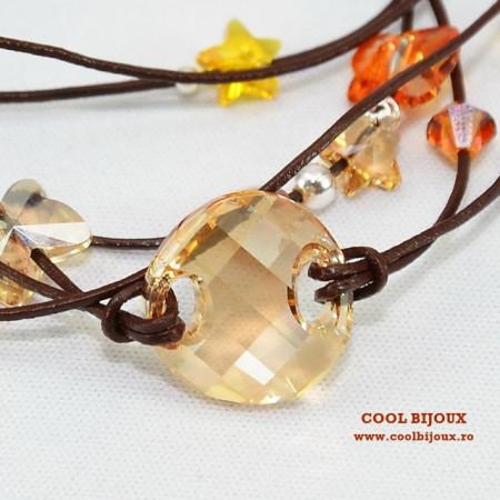 Bratara din piele cu cristale SWAROVSKI ELEMENTS - maro