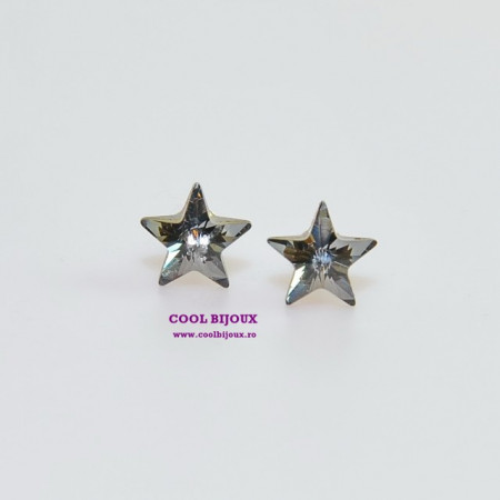 Cercei surub cu cristale SWAROVSKI ELEMENTS - Star Silver Night