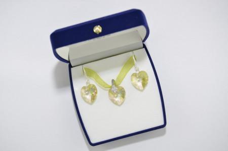 Heart Pendant, Crystal Luminouse Green, 18/18 mm