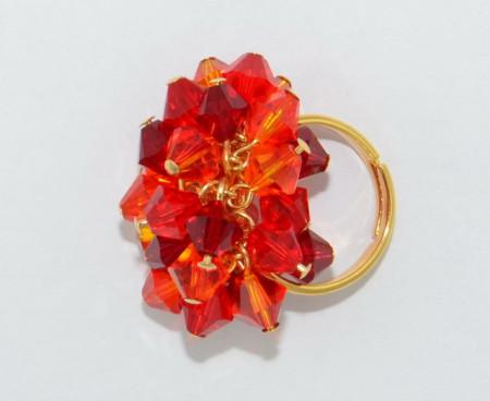 Inel cu cristale biconice - 6mm - Fire Opal