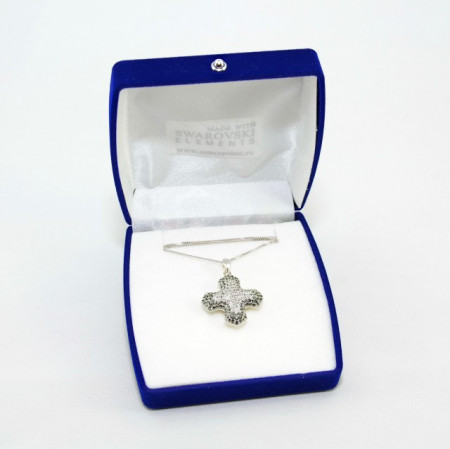Pave Greek Cross Pendant - Crystal/Black Diamond