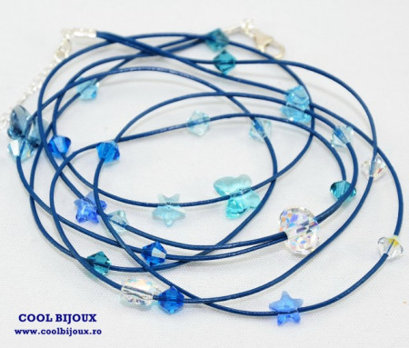 Bratara din piele cu cristale SWAROVSKI ELEMENTS - albastru