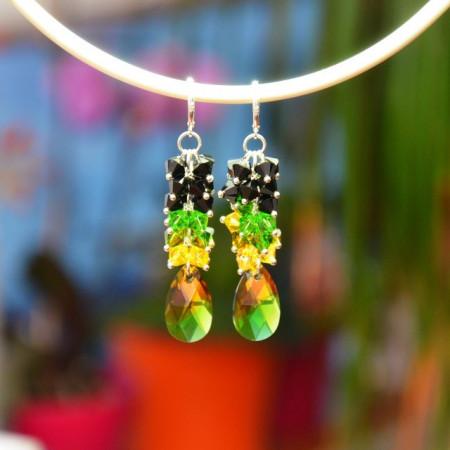 Cercei cu cristale SWAROVSKI ELEMENTS - fern green -  80 mm