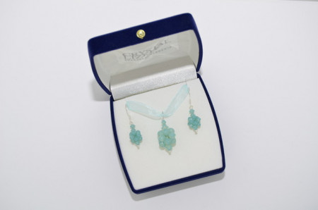 Cercei si pandantiv cu cristale SWAROVSKI ELEMENTS - Pacific Opal