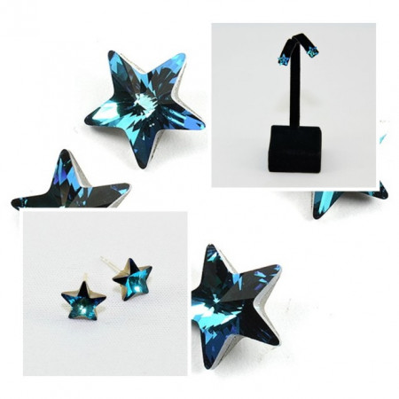 Cercei surub cu cristale SWAROVSKI ELEMENTS - Star Bermuda Blue
