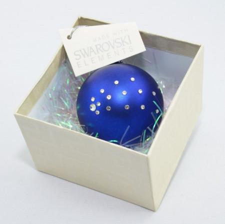 Glob cu cristale SWAROVSKI ELEMENTS - albastru - 58 mm