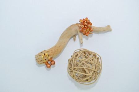 Inel cu cristale biconice si perle - 6mm - Copper