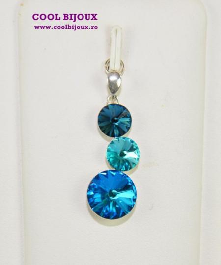 Pandantiv argint cu 3 cristale SWAROVSKI ELEMENTS - Bermuda Blue