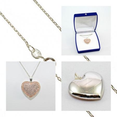 Pave Heart Pendant - Silk/Light Peach