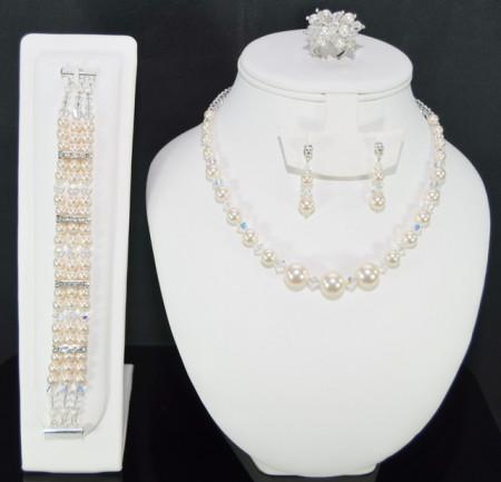 Set bijuterii cu cristale si perle SWAROVSKI ELEMENTS - creamrose