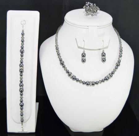 Set bijuterii cu cristale si perle SWAROVSKI ELEMENTS - dark grey