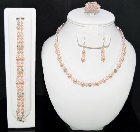Set bijuterii cu cristale si perle SWAROVSKI ELEMENTS - peach