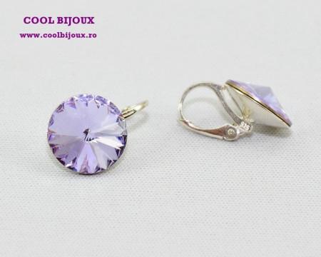 Cercei cu cristale SWAROVSKI ELEMENTS - Violet