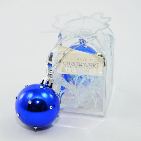 Glob cu cristale SWAROVSKI ELEMENTS - albastru - 38 mm