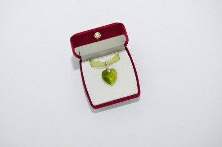 Heart Pendant, Crystal Olivine, 18 mm