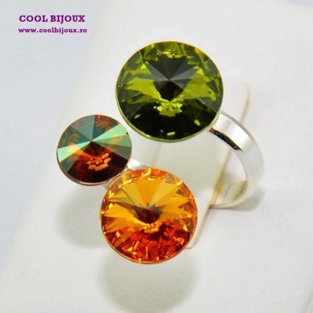 Inel cu 3 cristale SWAROVSKI ELEMENTS - Olive
