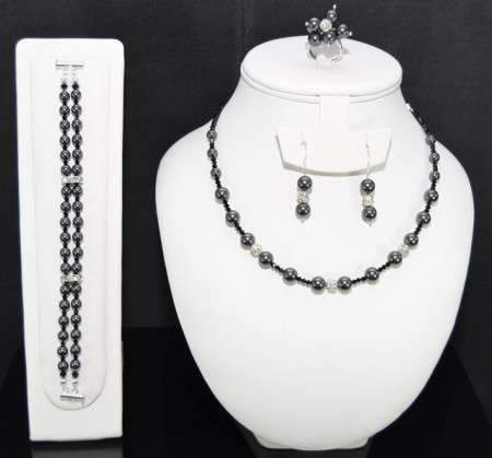 Set bijuterii cu cristale si perle SWAROVSKI ELEMENTS - black