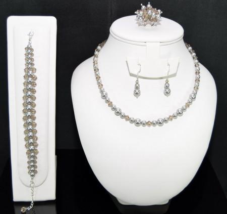 Set bijuterii cu cristale si perle SWAROVSKI ELEMENTS - light grey