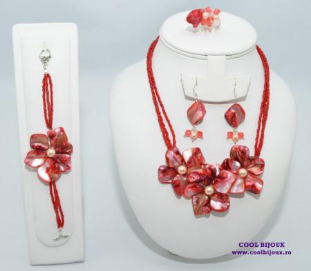 Set bijuterii cu sidef si perle SWAROVSKI ELEMENTS - rosu