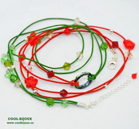 Bratara din piele cu cristale SWAROVSKI ELEMENTS - verde & rosu