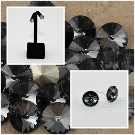 Cercei surub cu cristale SWAROVSKI ELEMENTS - Silver Night