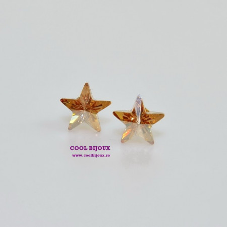 Cercei surub cu cristale SWAROVSKI ELEMENTS - Star Golden Shadow